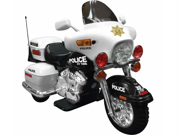 kids 12 volt battery powered police motorcycle ride on toy in white