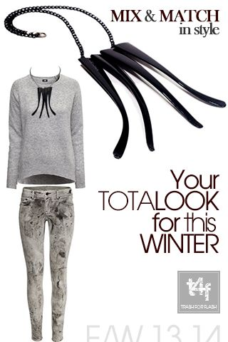 MIX & MATCH IN STYLE WITH T4F JEWELLERY!  .Fancy a wintery walk in the TowN. Grab. Your sweater and let your Necklace to…WoW!   SALES ARE ON @ http://www.trash4flash.bigcartel.com/  (Sweater & Pants by #H&M – Necklace by #trash4flash – Design / One of a Kind )  #FW13-14 #fashionjewellery #fashion #necklace #winter #collections #totallook   www.trash4flash.com