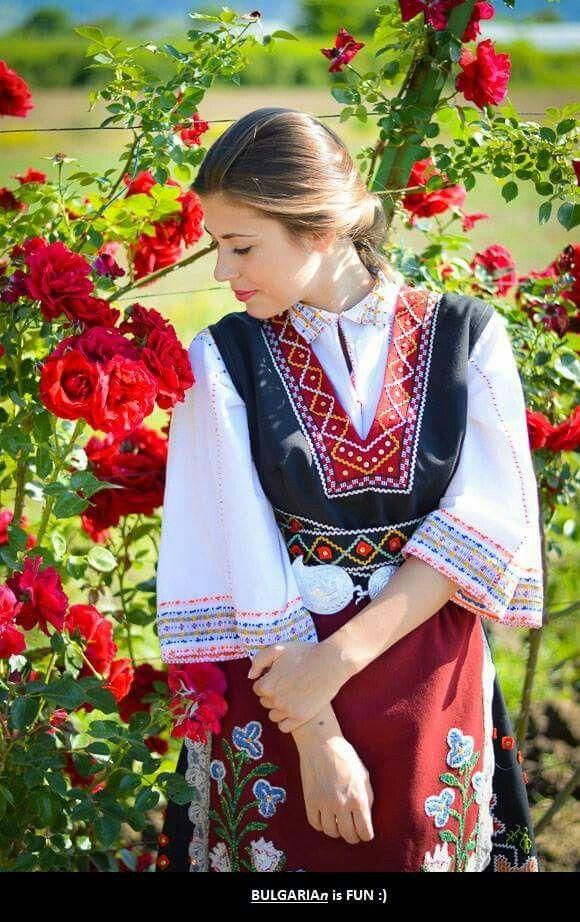 Bulgarian girl in traditional costume