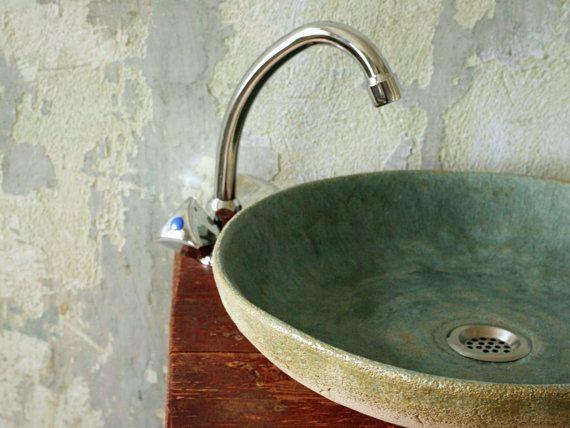 Palangana de baño cerámica Jade por HerbariumCeramics en Etsy