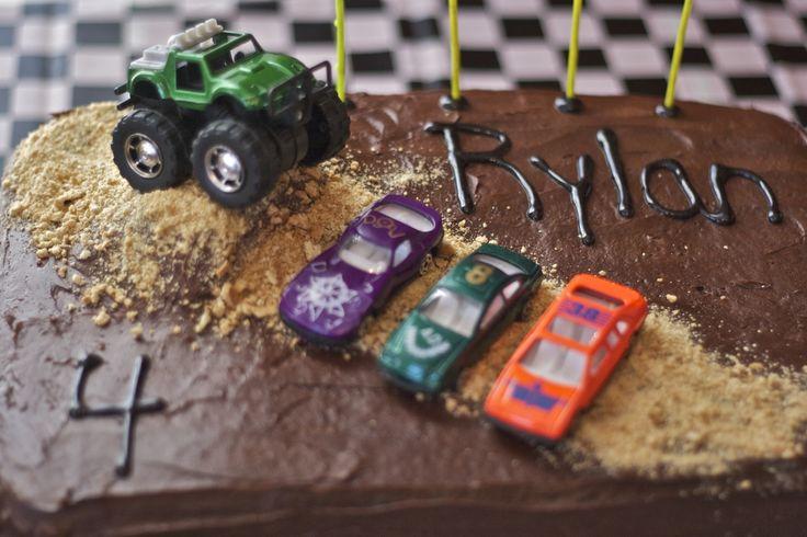 Easy Monster Truck Cake | two rectangle frozen cakes monster truck and 3 Matchbox cars graham ...
