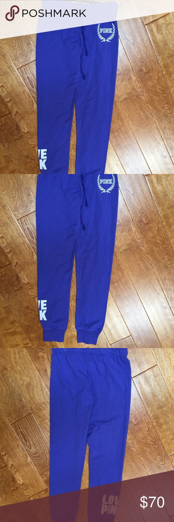 PINK Victoria's Secret Purple gym pants! XS NWT PINK Victoria's Secret purple gym pants with white graphics. Brand new with tags on them! Never worn! I LOVE these pants.. I also have a pair of my own.. super cute & comfy! LoVe the bright purple!!! PINK Victoria's Secret Pants Track Pants & Joggers