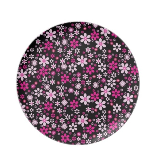 Cute black pink floral flowers background design party plate $24.95