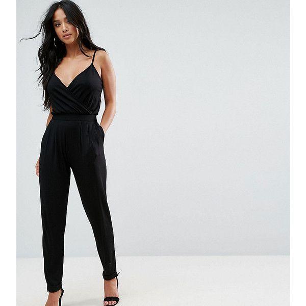 ASOS PETITE Cami Wrap Front Jersey Jumpsuit with Peg Leg ($41) ❤ liked on Polyvore featuring jumpsuits, black, petite, short jumpsuits, plunge neck jumpsuit, petite jumpsuit, jump suit and jersey jumpsuit