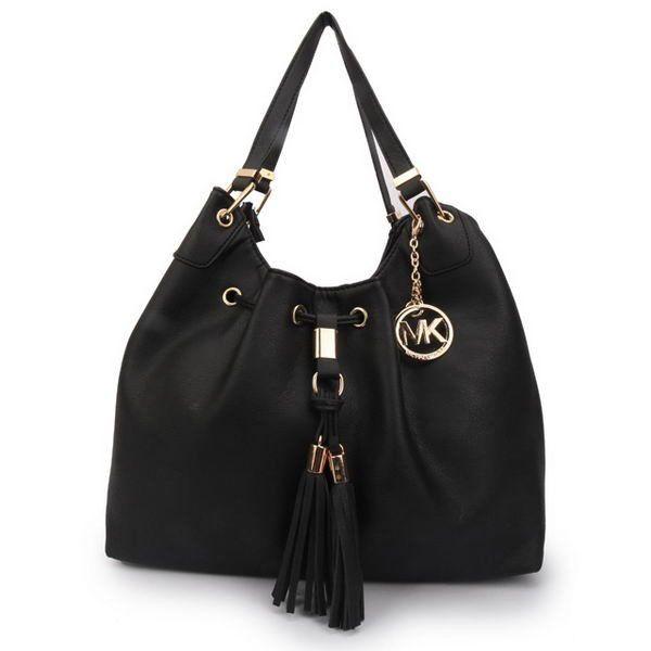 Michael Kors Camden Drawstring Large Black Shoulder Bags