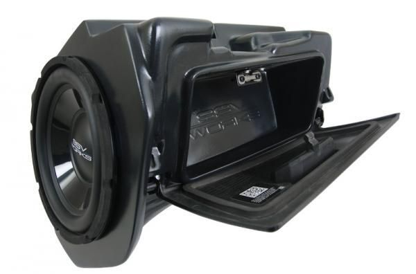"POLARIS RZR XP 1000 / XP 4 1000 WEATHER PROOF GLOVE BOX SUB BOX WITH AMPLIFIED 10"" WOOFER - UTV Gear"