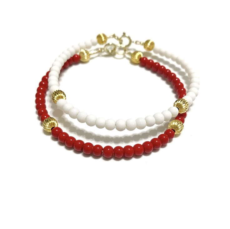 red and white bracelets, game day jewelry, alabama jewelry, roll tide