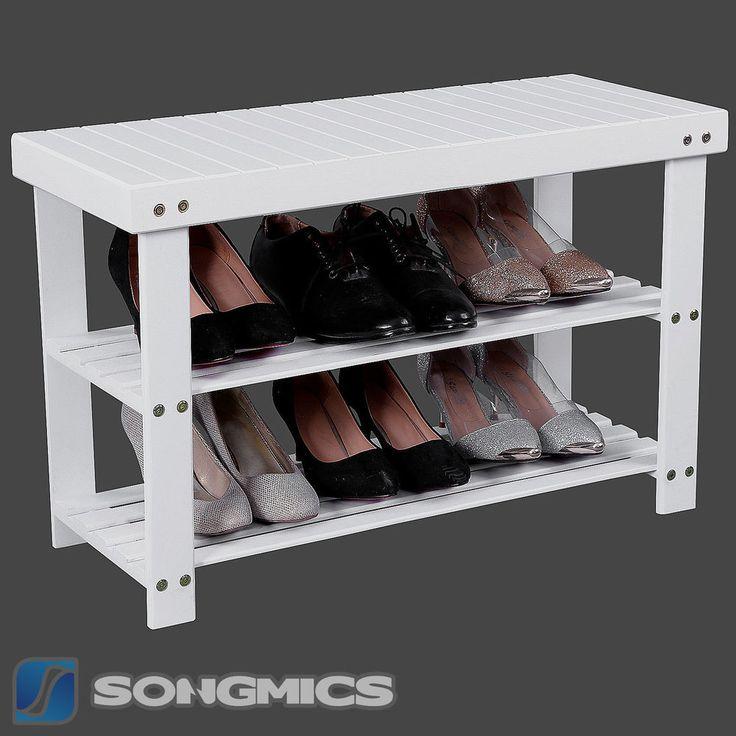 Songmics Schuhregal Schuhständer Sitzbank Hocker Bambus Schuhbank Weiß LBS04B in Möbel & Wohnen, Möbel, Regale & Aufbewahrung | eBay
