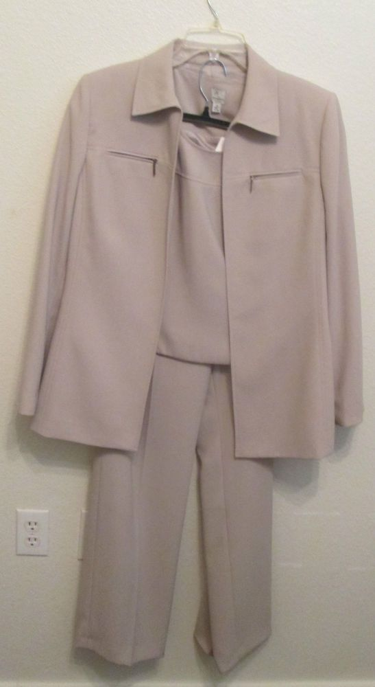 Ann Klein Size 12 Elegant Career Khaki Beige 3 Pc Lined Suit Pants Coat Tank NWT #AnneKlein #PantSuit