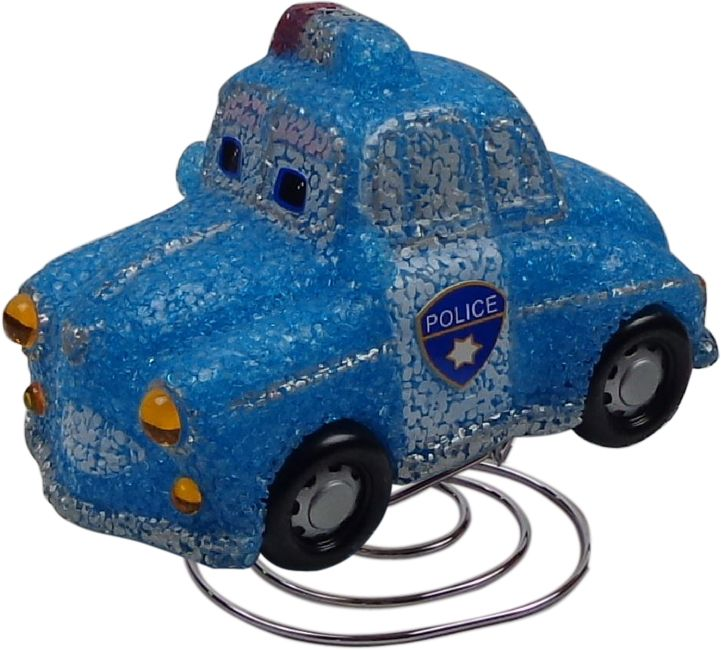 Blue Police Car Night Light Prev Stop Play Next This gorgeous police car lamp is the perfect way to add fun, character and comfort to a child's bedroom. The soft 6 watt bulb emits a gentle light, creating a soothing bedtime atmosphere. Made from soft EVA material on an attractive chrome base. Includes a bulb, power adaptor, instructions and comes packaged in a clear display box. Safety Note This is an electrical product, not a toy! Please follow safety instructions & do not place where small…