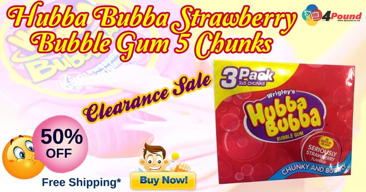 Shop for Hubba Bubba Strawberry Bubble Gum, Pack Of 3 for 50% OFF on sale. Order today. Free Shipping Availability.  Product Description : 3 Pack Hubba Bubba Bubble Gum. No Artificial Colours.  Seriously Strawberry Flavour. Chunky and Bubbly Wrigley' s Hubba Bubba Bubble Gum. Chewing Gum with Strawberry Flavour. Ingredients: Sugar, Gum base,Glucose syrup, Citric acid,Humectant Glycerine (Non-Animal),Flavourings, Emulsifier   http://www.4pound.co.uk/3-pack-hubba-bubba-bubble-gum