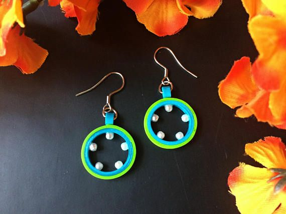 Chartreuse Green aqua blue earrings, dainty summer jewelery, paper quilling, minimalist pearl danglers, circle drop earrings, gifts under 10