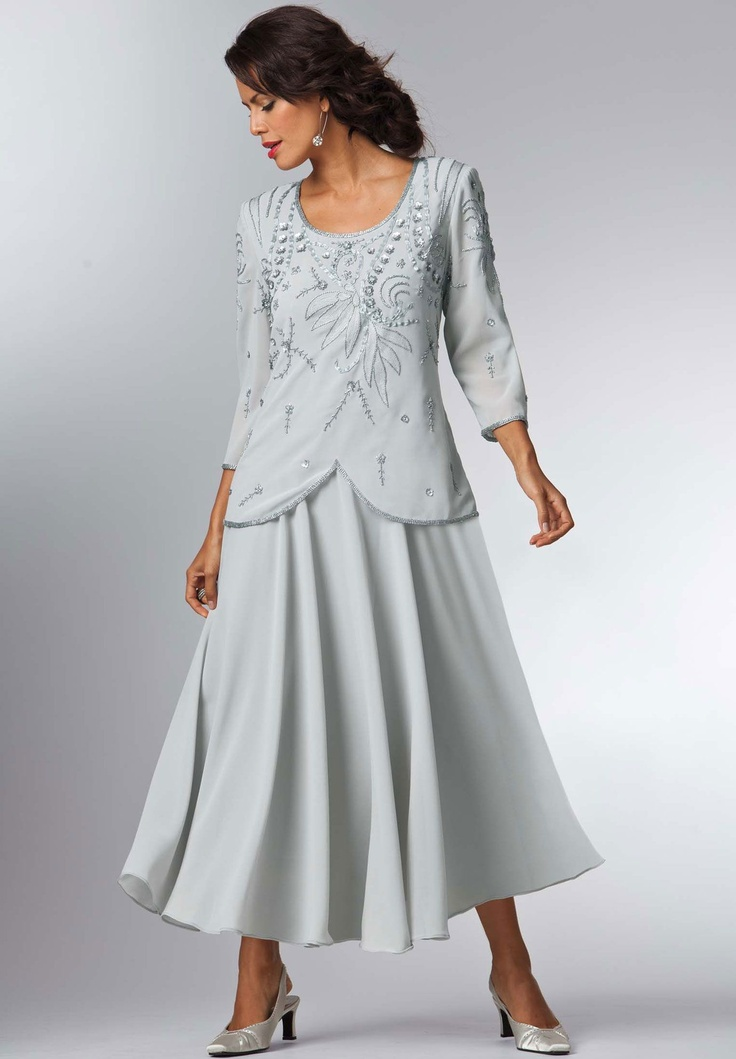 Plus size embellished 2 piece look a line dress plus for Dress and jacket outfits for weddings