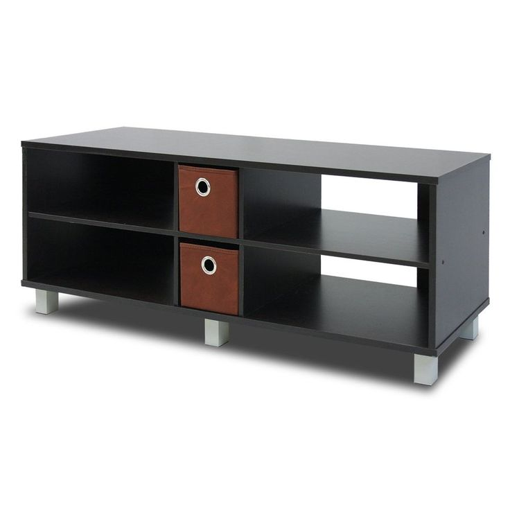 Wood Tv Entertainment Center Storage Console Cabinet 2 Drawers Espresso/Brown #Furinno#TV,#Stand,#Gaming,#Entertainment,#Media,#Furniture,#Home,#Theater,#Storage