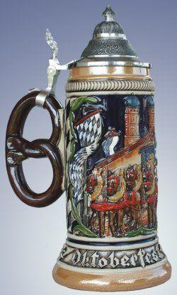 Germany Oktoberfest with Pretzel Handle LE German Beer Stein