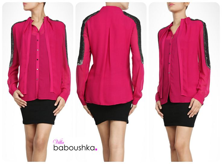 Embellished shoulders add to the appeal of this bright pink top, crafted in a jacket style. The eccentric design has its own bold style by #Rohit Gandhi + #Rahul Khanna #villababoushka #fashion #egypt #concept store