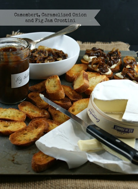 Camembert, Caramelized Onions and Fig Jam Crostini.