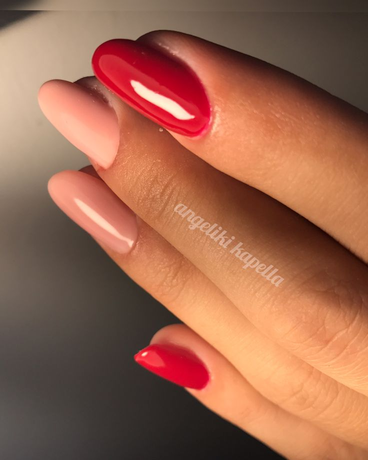 Red/nude acrylic nails