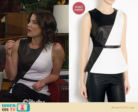 Robin\u0026#39;s black and white diagonal colorblock top with leather on ...