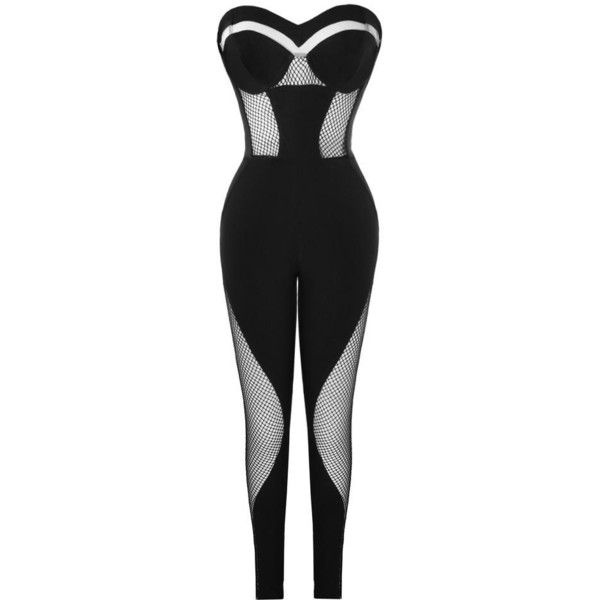 LIT BLACK BUSTIER MESH PANELLED TAILORED JUMPSUIT ($130) ❤ liked on Polyvore featuring jumpsuits, tailored jumpsuit, mesh insert jumpsuit, bustier jumpsuit and jump suit