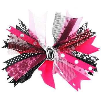 Pink, Black & White Damask Ribbon Scraps Bow