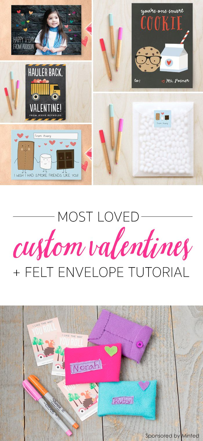 Most-Loved Custom Classroom Valentine's + Handmade Felt Envelopes: Easy Valentine's Day Activity for Kids *This simple sewing project is so cute.