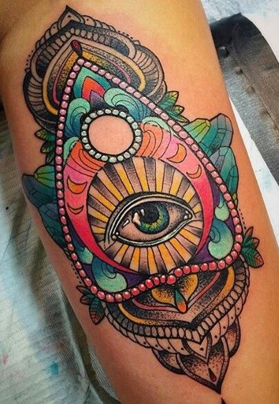 #thirdeye #tattoo//The third eye is a mystical concept referring to an invisible eye that provides perception beyond ordinary sight. It is located between, & just above, the eyebrows, & acts like a gate that leads to inner realms & higher consciousness. Its vibrational frequency is related to insight & intuition. Its associated color is indigo, & its element is light.