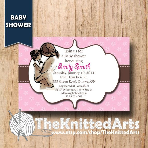 Baby Shower Invitation. 4x6. Pink & Brown Floral Design. Customize and Print at Home.