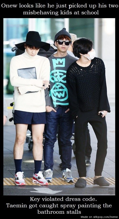 Everybody violating the dress code except Onew. Taemin.... those shoes with that top.. and Key..... you should know better.