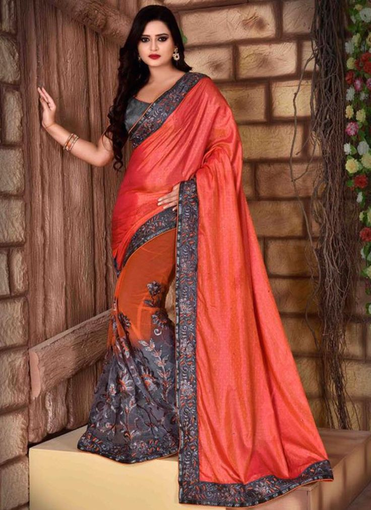 Shop for handmade indian sarees online! Order this net and silk embroidered and patch border work traditional  saree for festival and party.