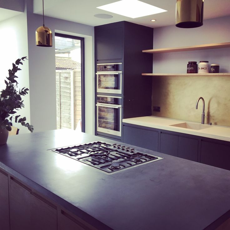 Kitchen #bespoke #brass #concrete #concreteworktops #american oak