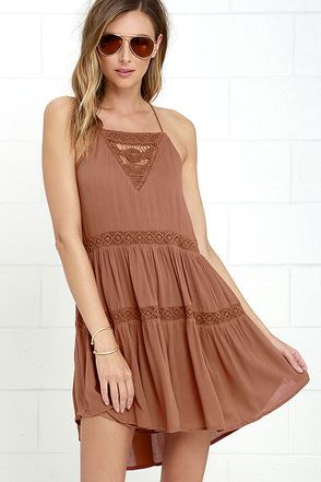 Amuse Society Linnea Brown Lace Dress at Lulus.com!