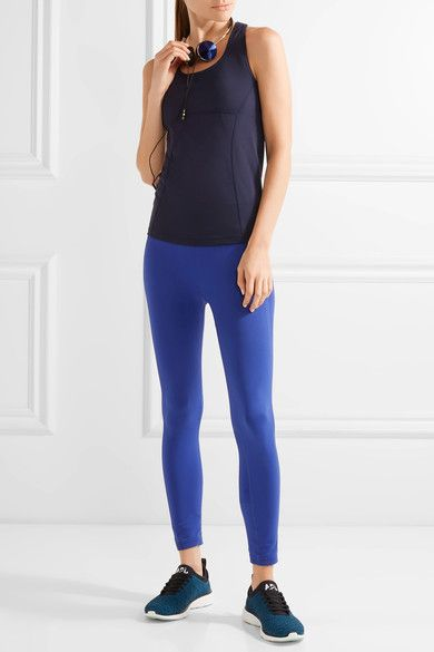 Tory Sport - Mesh-trimmed Stretch-tactel® Tank - Navy - x small