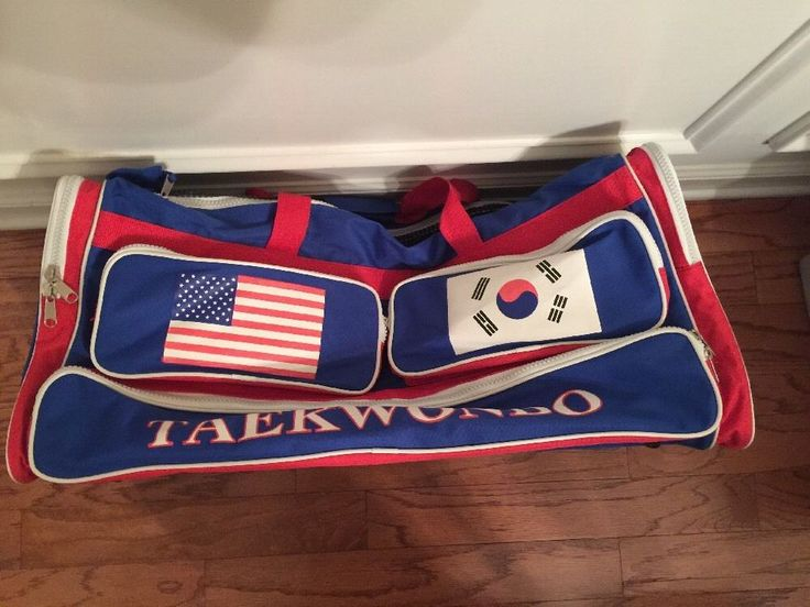 ATA Black Belt Academy Taekwondo Sparring Gear Duffle Blue Red White Large Bag  | eBay