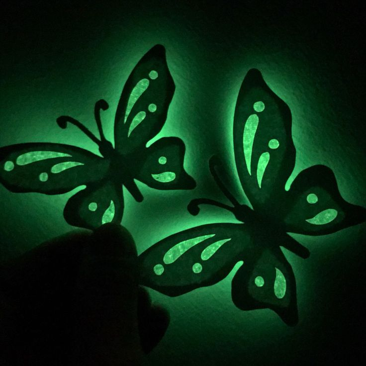 These are our glow in the dark butterflies will not only look good in the light but when its dark they will glow and look even better! Get your butterflies in your favourite colours at KomalWorks.etsy.com #babynursery #butterflydecor #etsy #komalworks