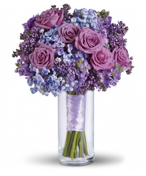 Ideal bouquet with hues of sky blue, periwinkle, purple and lavender. Would like to include darker violet colors as well.