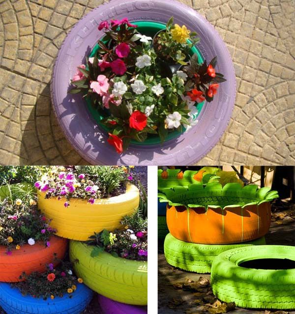 Recycled tires made into planters gardens raised for Recycled flower pots