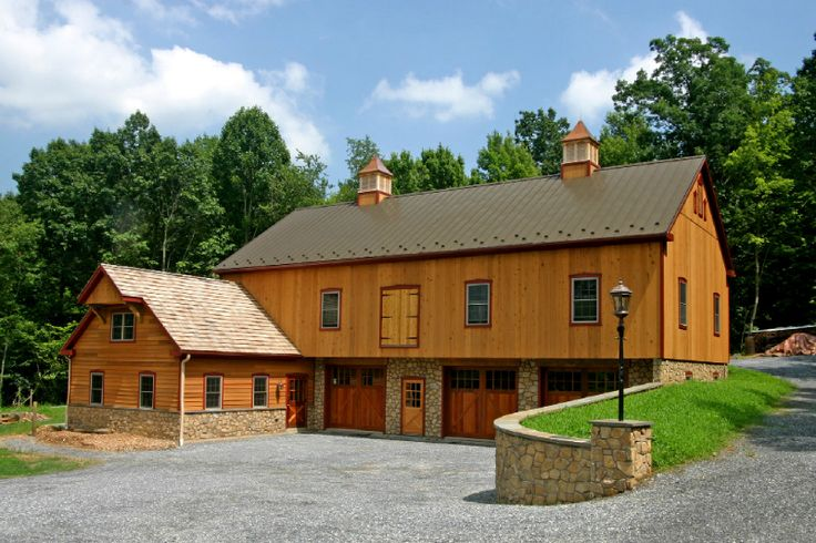 Bank Barn – Bank Barns | KingBarns.com... like this but less manicured and designed for horses/sheep/chickens, with tack room, hay loft above and living quarters.