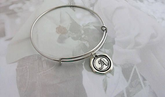 Personalized Bangle Wax Seal Silver Initials Tag  Hand