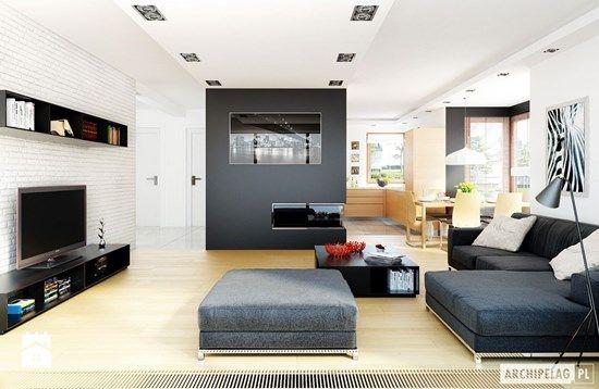 Projekt domu Mati G1 - wizualizacja salonu - zdjęcie od Pracownia Projektowa ARCHIPELAG