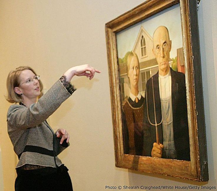 Famous Paintings American Gothic by Grant Wood