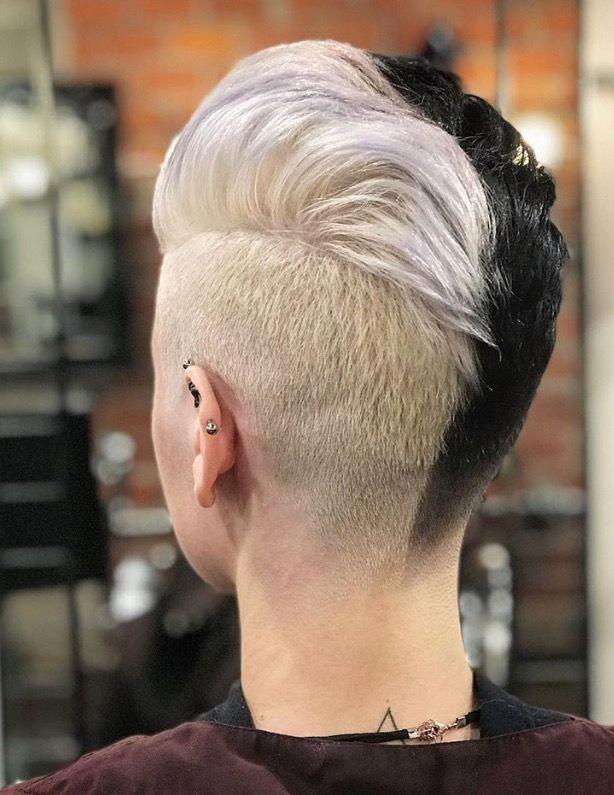 Pin By David Connelly On Half Half Dyed Hair 09 Split Dyed Hair Bleach Blonde Hair Short Hair Styles