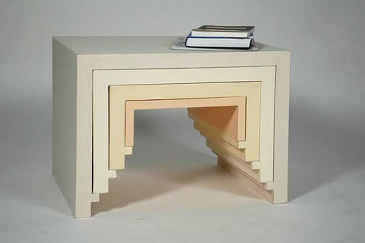 [Creative Idea Stacking Nesting Furniture by Florian Krautli]  Designed by Florian Krautli each unit in the Creative Idea Stacking Nesting Furniture can be utilized as a table or shelf.