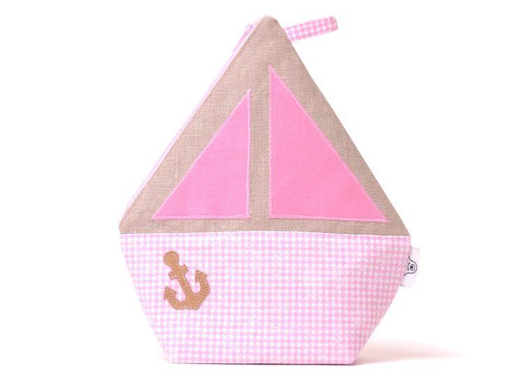 Kulturbeutel - BOOT, Kulturtasche Kinder, Ahoi!, Anker, Segelboot - ein Designerstück von ambaZamba bei DaWanda