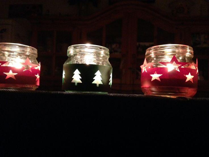 #candele di #natale fatte con i vasetti degli omogeneizzati