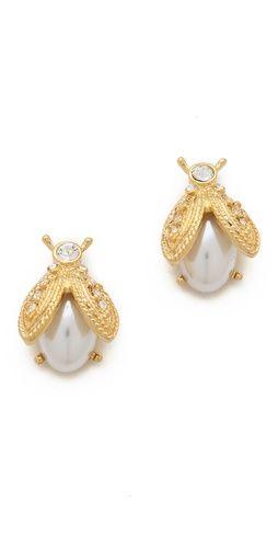 Kenneth Jay Lane Imitation Pearl Bee Earrings | SHOPBOP SAVE 25% use Code:FAMILY25