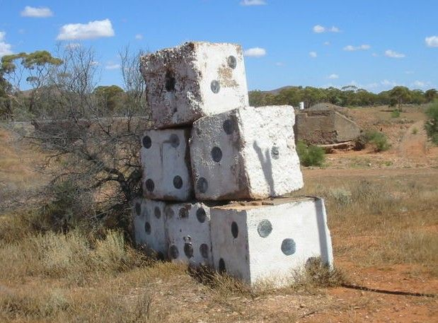 the big dice near Yunta, the Barrier Highway, South Australia • Aussie big things