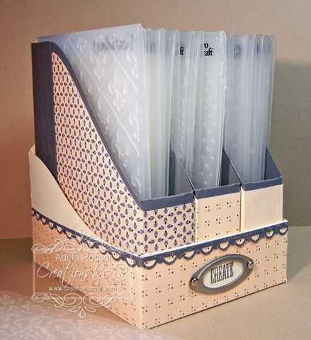 Embossing Holder.this site is Creations by AR, a site to order templates for making these storage boxes and other neat things