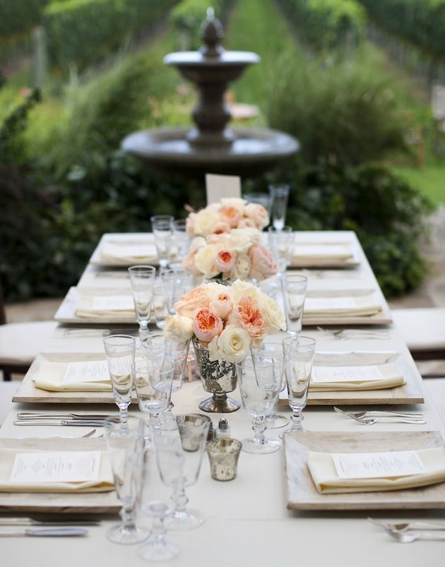 The glam factor of long reception tables long tables for Long table centerpieces