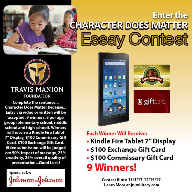 """Enter from November 1 - December 15 for a chance to win a Kindle Fire Tablet 7"""" Display, a $100 Commissary Gift Card, and a $100 Exchange Gift Card!    Johnson & Johnson 2017 """"Character Does Matter"""" Contest   Giveaways   My Military Savings"""